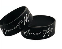 Stoic Philosophy Unisex Bracelet- Black 1 inch ( WIDE STYLE) - Momento Mori and Amor Fati- Unisex- Premium Silicone -Red Gift Packaging $19.00