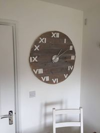 Clock Wall Vintage, Large 77cm / 30.3 inch Diameter with White Roman Numerals in Barnwood £109.00