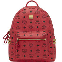 MCM Small Stark Side Studded Backpack In Red