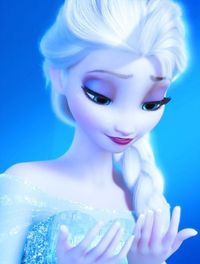 I love the way she looks at her hands when she see's Olaf. Its like she can't believe she created something good