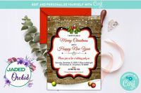 A Country Rustic Christmas Party Invitation, Christmas Holiday Party Invitation, Holiday Party - INSTANT ACCESS - Edit NOW using Corjl $8.99