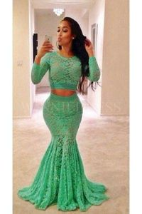 Long Sleeve O-Neck Long Lace Two Piece Green Mermaid Prom Dress