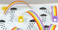 Rain & Rainbows Board Game printable template - perfect rainy day fun!
