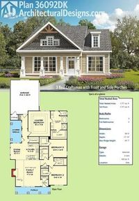 Architectural Designs 3 Bed Craftsman House Plan 36092DK has a front and a side covered porch to enjoy the beautiful weather on. The family room has a vaulted ceiling to lighten up your time with family and friends. The master bedroom has dramatic trayed ...