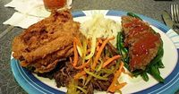 50's Prime Time Sampler Platter. The best fried chicken ever, easy meatloaf, and fall-off-the-bone pot roast. And of course a side of mashers. http://pinterest.com/cgoldsbury/disney-favorite-meals/#