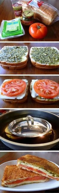 Food Drink: Grilled cheese tomato and pesto sandwich