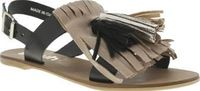 Schuh Multi Sunset Womens Sandals Watch the Sunset in sizzling hot summer style, as this beaut sandal arrives from schuh. Constructed of black leather, the strappy upper features suede tassel and fringe detail in beige, gold and snake http://www.comparest...