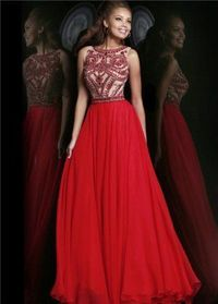 Long Red Beaded High Neck Formal Evening Gowns 2014