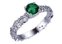 Filigree Emerald Ring, Solitaire Leaves Ring, 24 accent diamonds on the sides, May Birthstone $930.00
