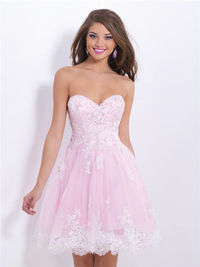 Pink Lace Blush 9878 Short Homecoming Dresses 2014