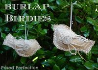 Burlap Bird Ornaments tutorial Wings would also work on paper bird ornamants