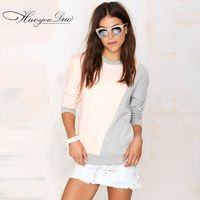 Vogue Split Front Contrast Color Scoop Neck 9/10 Sleeves Hoodie T-shirt - Bonny YZOZO Boutique Store