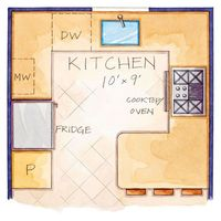 Careful space planning made the most of this 10x9-foot kitchen. The microwave was installed in an upper cabinet, which freed up valuable counter space. A small peninsula doubles as prep space and a gathering spot for visiting with the cook