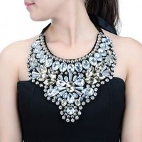 Fashion Pendant Chain Glass Crystal Chunky Choker Statement Bib Necklace Jewelry