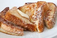 French Toast Recipe: 8 thick slices of bread, whole milk, eggs, light brown sugar, cinnamon, unsalted butter, salt, vanilla