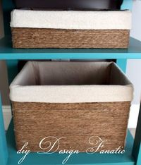 diy Design Fanatic: use jute twine to cover a cardboard, plastic or any other box that's the right size and still coordinate!