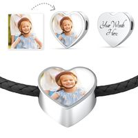 Personalized Engraved Round Charm Bracelet With Double-wrapped Leather Bracelet $39.95