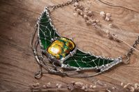 Forest Crescent Moon with cabochon from dichroic glass, green necklace, witchcraft, gothic jewelry, witchy, magical jewelry, witch jewelry $89.00