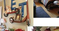 a salvage savvy delight:Vintage scooters as shelves; Salvaged, repainted dresser with flash card and building block accents; Metal pail organizers with license plate letters; Store checkout light turned into floor lamp; Headboard created with tin number w...