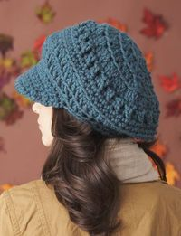 Free Pattern Bernat: Pattern Detail - Softee Chunky - Slouchy Peaked Hat (crochet) (Brown for Kim with Kat's necklace flower)