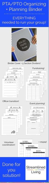 Are you ready to lead your PTA/PTO? This done-for-you Organizing and Planning binder is the ultimate solution! It's just the ticket for an organized and drama free year for all parent groups like PTA and PTOs. This binder is a great way for building a...