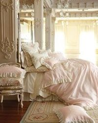 shabby chic done RIGHT. so many times this style means rooms are extremely colored, like a pastel barbie closet threw up all over them. but this is elegant and soft and textured and romantic with those hints of old world rustic that make me fall in love w...