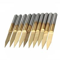 10 pcs Titanium Coated Carbide Engraving Cutter Bits $29.90