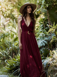 Made from our sheer Endless Summer fabric, this flowy maxi dress features a low V-neck. Open back with adjustable straps. Throw on top of a bikini or layer over one of our seamless styles for an effortless look.