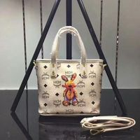 MCM Mini Rabbit Visetos Shoulder Tote In Beige