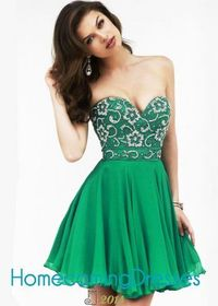 Floral Beaded Emerald Strapless Sweetheart Short Party Dress