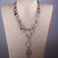 Free Shipping Amazonite Stones Bohemian Tribal Jewelry Rosary Chain Clover Palm Pendant Necklace $30.39
