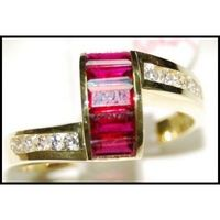 18K Yellow Gold Diamond and For Men Ruby Jewelry Ring [RQ0038]
