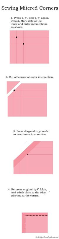 Tie Dye Diva Patterns - How to Sew Mitered Corners (for Cloth Napkins or other Squares)
