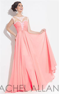 Long Pink Beaded Rachel Allan 6871 Jeweled Prom Dress 2015