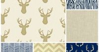 Tan and Navy Deer Bedding Set, 3 Piece Set, Crib Sheet, Crib Skirt, Bumper, Rustic Woodland Hunting Boy Nursery