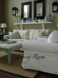 Just Beachy - Living Room Designs - Decorating Ideas - Rate My Space-- I am not a beachy decor fan, but love the double mirror and it's got great dimmension if you choose your own colors and themes this could be a great mantle decor idea!