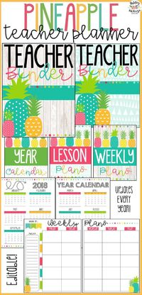 You will love this pineapple teacher planner! It is an editable teacher binder that will save you so much time and keep you organized! #pineappleclassroom #classroomorganization #teacherbinder #teacherplanner #pineappleteacherbinder #pineappleteacherplann...