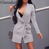 Price: $42.91 | Product: Sexy Long Sleeve Casual Slim Blazer Grey Plaid Polyester Dress suit | Visit our online store https://ladiesgents.ca
