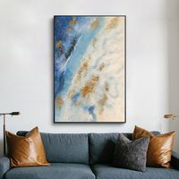 Modern Abstract acrylic painting on canvas blue texture extra large wall art original painting hand painted Home decor cuadros abstractos $123.75
