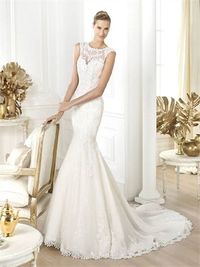 Gorgeous cowl neck cap sleeves court train lace wedding dress