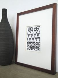 Print Tribal Triangles Pattern Linocut / 4 x 6 Wall by printwork, $12.00