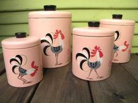 I would LOVE to have these... pink, rooster, kitchen... AWESOME!! vintage rooster canisters