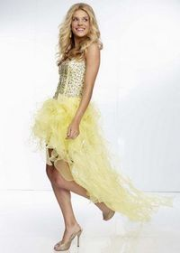 Yellow Beaded Top Strapless Corset Back High Low Ruffled Dress