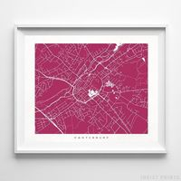 Canterbury, England Street Map Horizontal Print by Inkist Prints - Available at https://www.inkistprints.com