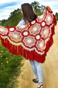 Red wool cape. Womens natural shawl with fringe, as cute Christmas gift shrug for wife, oversized winter cover up for women plus size $75.00