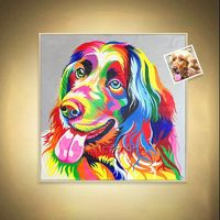 Puppy painting Customer Animal painting on canvas art pet oil painting pet photo wall pictures order original painting abstract painting $109.00