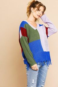 Color Blocked Long Sleeve V-neck Knit Pullover Sweater $54.02