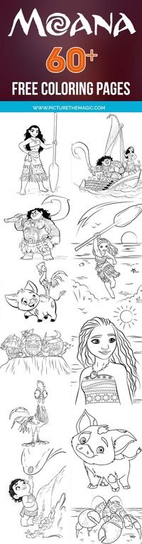 Download more than 50 Moana coloring pages! Includes Maui coloring pages, as well as Pua the pig, Hei Hei the chicken, and other Moana friends.