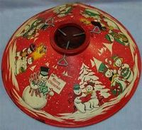 VINTAGE 1950S COLORAMIC CHRISTMAS TREE STAND SNOWMAN LITHOGRAPHY BOXED ...
