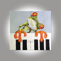 Frog paintings On Canvas abstract pet portrait painting acrylic animal painting Wall Art palette knife extra large abstract wall paintings $69.00